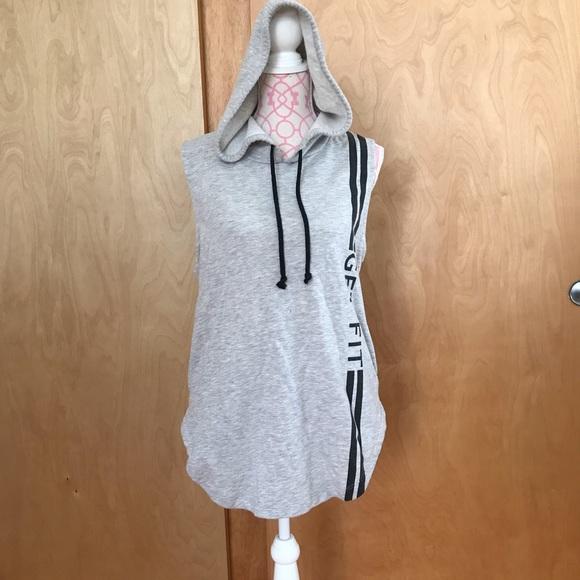 Sleeveless Workout Sweatshirt with Hoodie